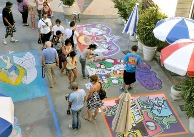 Pasadena Chalk Festival picture, street painting photo, painting world record 2010