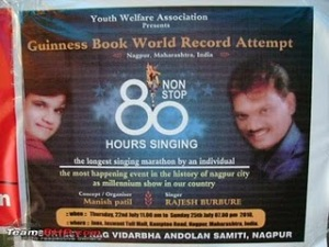 Non Stop Singing Guinness World Record, Rajesh Burbure singer photo, Nagpur singer Rajesh Burbure picture, Nagpur singer sings 80 hours video