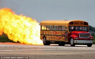 World's Fastest School Bus photo, American Jet School Bus picture, Fastest School Bus video, Paul Stender Jet School Bus, powerful Phantom fighter jet bus, Hispeed School Bus, Fastest Bus in the world, World's Fastest truck