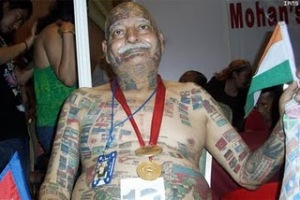 Guinness Rishi Tattoos photo, Guinness Rishi Tattoos World Record, Most Number of Tattoos on Body , Guinness Rishi limca records, largest number of tattoos on his body
